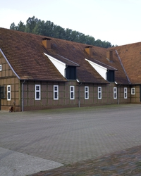 A view of the stallion stables from the outside ...